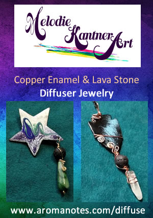Copper Enamel Art and Lava Stone Essential Oil Diffuser Jewelry